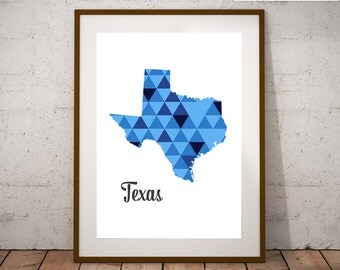 Home decor Printable art Geometric poster Blue modern wall art Texas decor Housewarming gift Wall art print United States Map wall art USA