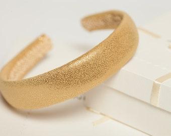 Gold padded headband Girl headband Fabric covered headband Gold hair accessory Gold headpiece Padded band Gold hairpiece