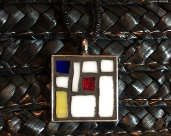 "NEW! 17"" Frank Lloyd Wright Inspired Glass Mosaic Choker Necklace - Item # 214"