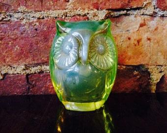 Fenton Green Glass Owl Figurine