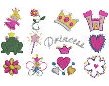 12 Mini princess machine embroidery designs, 4 inch hoop designs, fairytale pattern, princess applique, applique design, instant download