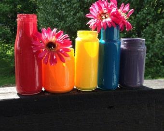 Rainbow Set of Upcycled Glass Jars