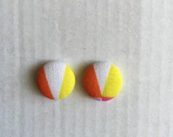 15mm Citrus Splash Fabric Studs