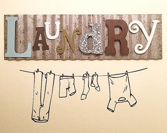 Clothesline decal, Laundry room decal, Wall decal/wall sticker