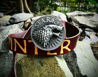winter is coming, leather belt, stark belt, got