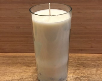Recycled wine bottle soy wax candle