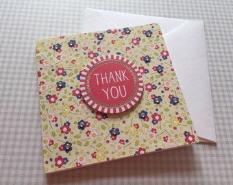 "Ditsy 4x4"" Handmade Thank You Card & Envelope"
