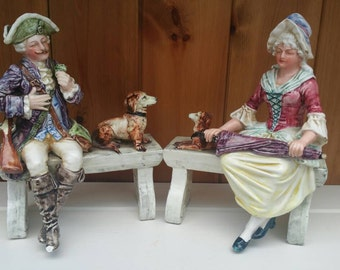 Antique pair fine porcelain figurines/French porcelain figurines/18th century porcelain figurines/1700s seated figures/OFFERS ACCEPTED