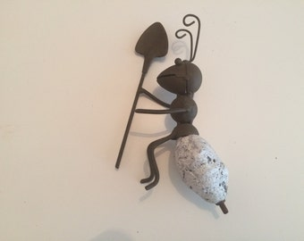 "Vintage Rustic Metal Hand Made Ant Worker Figure 7.5""x2"""