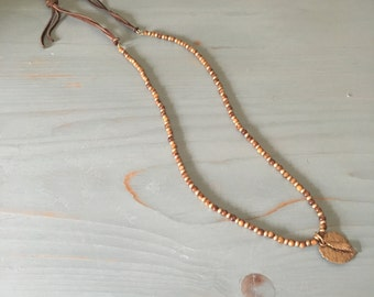 15.5 in. Bronze and Gold Tiny Bead Necklace