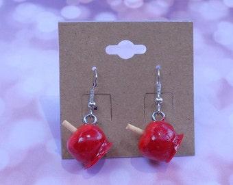 Candy apple earrings, kawaii/ fake food jewelry/ miniature food jewlery/ minature fake food/ food jewelry/ apple earrings, red candy apple