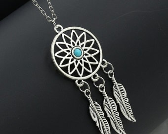 Turquoise Bead center Dreamcatcher Necklace