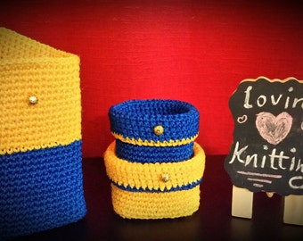 Set of 3 bins crochet storage Yellow /navy blue