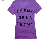 Creme De La Creme District Made Women Crew T-shirt Size XS To 4XL In Purple (Pick Your Ink Color) With Black Ink