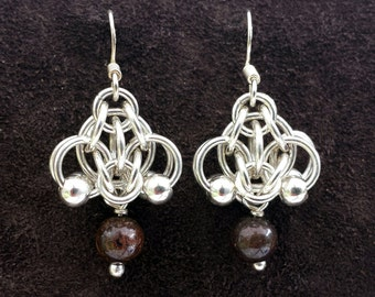 Hotaru Chainmail Earrings - Sterling Silver with Bronzite