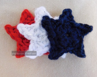 4th of July hair clip, Red White and Blue hair clip, Patriotic hair clip with stars, Alligator clip