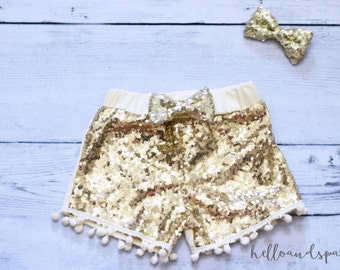 Baby Girl Clothes, Gold Sequin Shorts