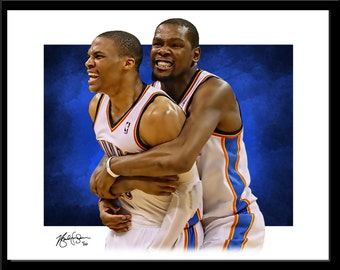Russell Westbrook and Kevin Durant Print - Fine Art - Modern Graphic Decor - Oklahoma City Thunder Basketball OKC