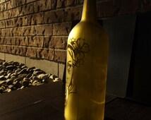 Golden Glass Etched Bottle