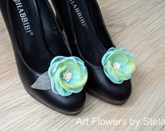 Bridal Shoe Clips, Flower Shoe Clips, Mint-Blue Bridesmaid Flower, Mint Wedding, Pearl Shoe Clips, Blue Fabric Flower, Bridal Shoe Accessory