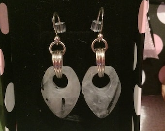 Gorgeous Vintage Sterling Silver EARRINGS with BLACK TOURMALINE Quartz Drop-Stunning Earrings with a 4.3cm Drop