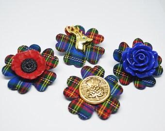 Scottish Tartan Brooch / Stag / Thistle / Poppy / Flower / Alternative Buttonhole flowers Boutonniere