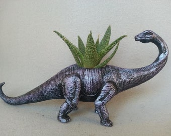 Hand Refinished, Repurposed Toy Brontosaurus Dinosaur Planter. Charming Gift to Yourself or Family and Friends