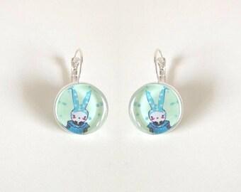 Earrings cabochon Blue Rabbit