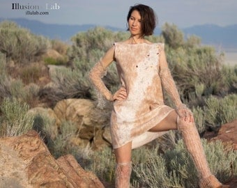 ECO style wearable art Hand felted woolen dress tunic with baby camel wool and natural amber
