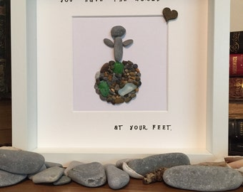 Personalised 'World at your feet' pebble frame