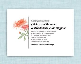 Printable Wedding Invitation • Watercolor Chrysanthemums