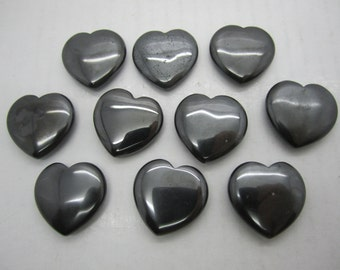 "Bulk 1""(25X7MM) Hematite Pocket Hearts - 10 PC. LOT"