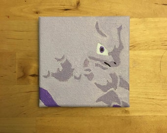 "3x3"" Mini Mewtwo Pokemon Painting"