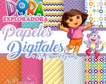 Papers digital Dora the Explorer + 25 Free Clipart