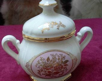 French Porcelain Sugar Bowl, Vintage Sugar bowl, Hand painted Porcelain, Autumn Decor