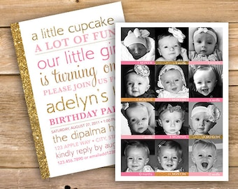 Girls 1st birthday invitation, 12 month, 12 pictures, one year old, photo, first year, one, pink, gold, glitter, printable, instant download