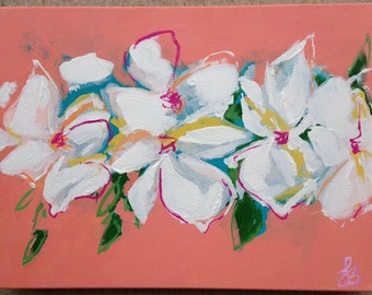 """Abstract flowers, coral, white, teal flowers, 12""""x16"""""""
