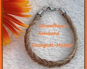 The tail hair of your horse/pony HERRINGBONE pattern bracelet