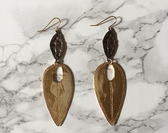 vintage geometric two piece leaf earrings / two tone dangle earrings
