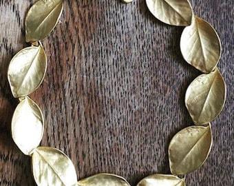 Gold Olive Leaf Choker Necklace