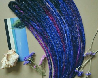 """FULL SET of dreads """"Galaxy"""", synthetic dreads, double ended dreads, dreadlocks"""