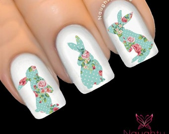 Bunny in AMELIA FLORAL Accent Feature Nail Water Transfer Decal Sticker Art Tattoo NNC-222R