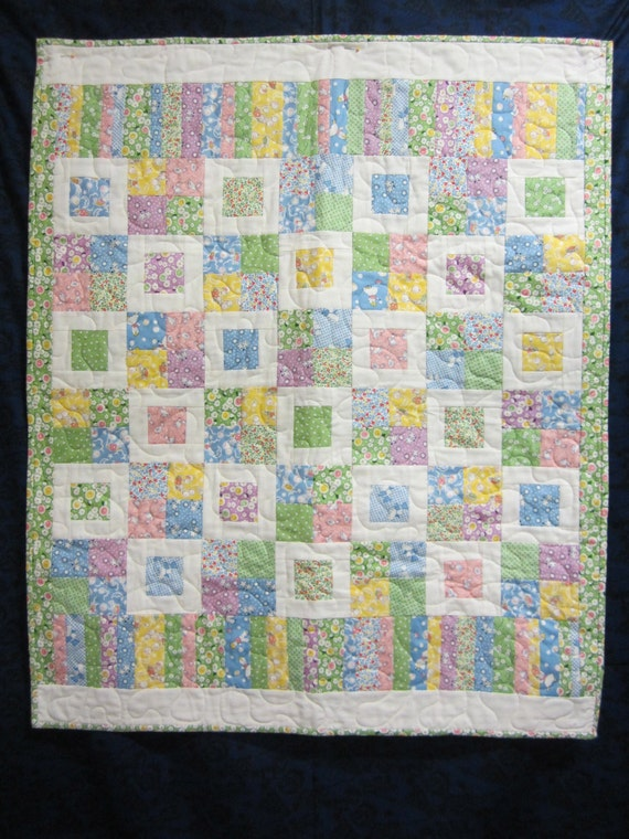 Modern quilt pretty baby handmade quilt girls quilt boys for Floor quilt for babies