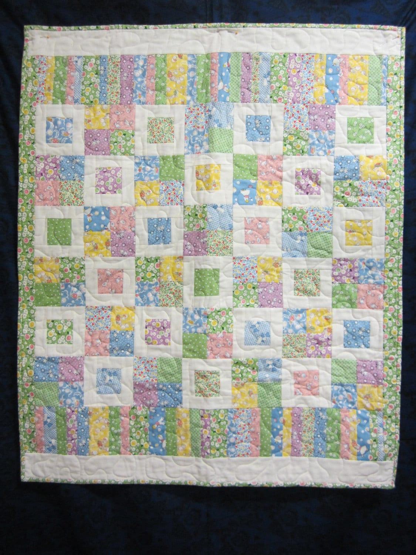 Modern quilt pretty baby handmade quilt girls quilt boys for Floor quilt for babies
