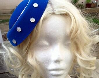 Pillbox Hat Fascinator Blue Silver Rhinestones Millinery Bibi Wool Felt Fifties