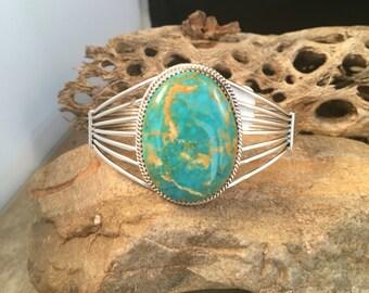 Vintage Navajo Kingman Turquoise & Sterling Silver Cuff Bracelet