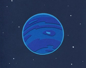 Paper Planets: Neptune Cut Paper Illustration