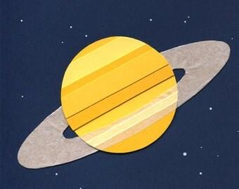 Paper Planets: Saturn Cut Paper Illustration