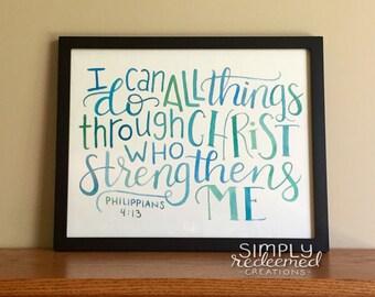 Philippians 4:14 - Original watercolor scripture art - 5x7 or 8x10