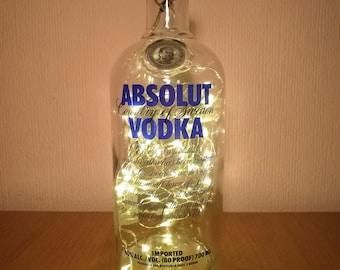 Upcycled Absolut Vodka LED Light Bottle